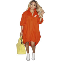 Orange Women's Loose Printed Single-breasted Hem Stretchable Tailed Dress For Fall 2021