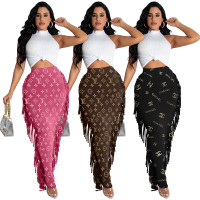 Fashion Black Print Tassel Long Skirt