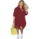 Wine Red Women's Loose Printed Single-breasted Hem Stretchable Tailed Dress For Fall 2021