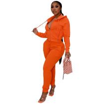 Solid Color Orange 2 Pieces Jogger Pants Zippered Hoodie Set