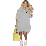 Grey Women's Loose Printed Single-breasted Hem Stretchable Tailed Dress For Fall 2021