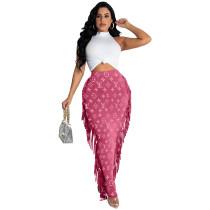 Fashion Print Tassel Long Skirt