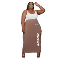 Champagne Double-sided Brushed Plus Size Printed Long Skirt with Fringed