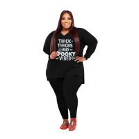 Plus Size Women Clothing Black Halloween V Neck Split Print Letter Casual Two Piece Set
