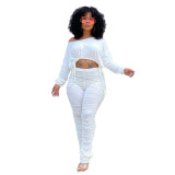Ladies White Stacked Two Piece Set Drawstring Crop Top and Pleated Trousers