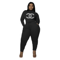 Clothes Manufacturing Women's Plus Size Casual Black Drawstring Hot Drilling High Neck Pant Sets