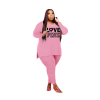 Wholesale Pink Split Printed Letter V Neck Plus Size Two Pieces Sets