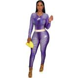 Autumn Purple 2021 Female Clothing Printed  High Waist Pants Sets