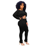 Ladies Black Stacked Two Piece Set Drawstring Crop Top and Pleated Trousers