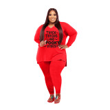 Plus Size Women Clothing Red Halloween V Neck Split Print Letter Casual Two Piece Set