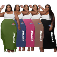 Black Double-sided Brushed Plus Size Printed Long Skirt with Fringed