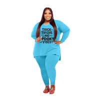 Plus Size Women Clothing Light Blue Halloween V Neck Split Print Letter Casual Two Piece Set