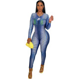 Blue Back Hidden Zipper Positioning Print Sexy Bodycon Dots Jumpsuit