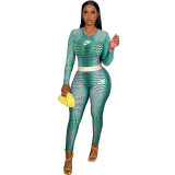 Autumn Cyan 2021 Female Clothing Printed  High Waist Pants Sets