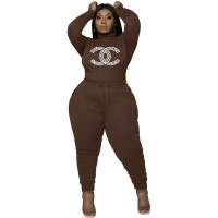 Clothes Manufacturing Women's Plus Size Casual Coffee Drawstring Hot Drilling High Neck Pant Sets
