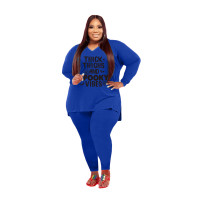 Plus Size Women Clothing Blue Halloween V Neck Split Print Letter Casual Two Piece Set