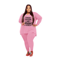 Plus Size Women Clothing Pink Halloween V Neck Split Print Letter Casual Two Piece Set