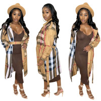 Autumn Woven Belted Printed Turn-down Neck Plaid Long Cloak