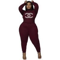 Clothes Manufacturing Women's Plus Size Casual Wine Red Drawstring Hot Drilling High Neck Pant Sets