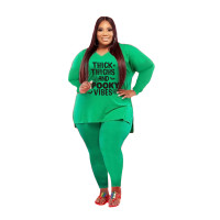 Plus Size Women Clothing Green Halloween V Neck Split Print Letter Casual Two Piece Set