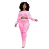 Ladies Pink Stacked Two Piece Set Drawstring Crop Top and Pleated Trousers