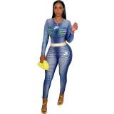Autumn Blue 2021 Female Clothing Printed  High Waist Pants Sets