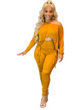 Ladies Turmeric Stacked Two Piece Set Drawstring Crop Top and Pleated Trousers