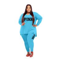 Fat Women Slit Fashion Light Blue V Neck Printed Two Piece Clothing Set