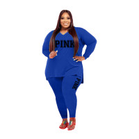 Fat Women Slit Fashion Blue V Neck Printed Two Piece Clothing Set