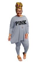 Fat lady's Plus Size Grey Casual Autumn Round Neck Split Printed Two Piece Women Set
