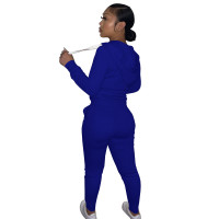 Autumn Winter Dark Blue Cotton Two Piece Sweatpants and Hoodie Set for Women