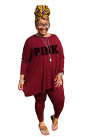 Fat lady's Plus Size Wine Red Casual Autumn Round Neck Split Printed Two Piece Women Set