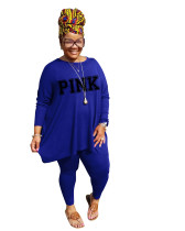 Fat lady's Plus Size Blue Casual Autumn Round Neck Split Printed Two Piece Women Set