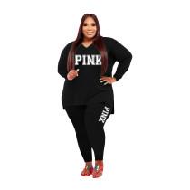 Fat Women Slit Fashion Black V Neck Printed Two Piece Clothing Set