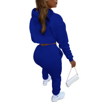 Blue Cotton Fleece Drawstring Jogging Tracksuit  Hollow Hoodie Blouse Pants Set and Vest