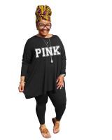 Fat lady's Plus Size Black Casual Autumn Round Neck Split Printed Two Piece Women Set