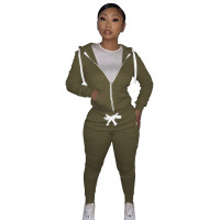 Autumn Winter Army Green Cotton Two Piece Sweatpants and Hoodie Set for Women