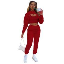 Red Cotton Fleece Drawstring Jogging Tracksuit  Hollow Hoodie Blouse Pants Set and Vest