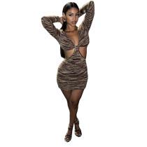 Fall Clubwear 2021 Long Sleeve Pit Deep V Neck Cut Out Sexy Bodycon Dress