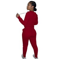 Autumn Winter Wine Red Cotton Two Piece Sweatpants and Hoodie Set for Women