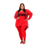 Fat Women Slit Fashion Red V Neck Printed Two Piece Clothing Set