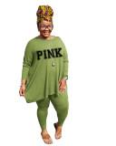Fat lady's Plus Size Green Casual Autumn Round Neck Split Printed Two Piece Women Set