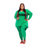 Fat Women Slit Fashion Green V Neck Printed Two Piece Clothing Set
