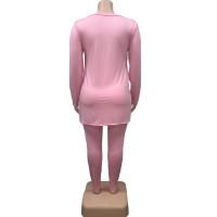 Fat Women Slit Fashion Pink V Neck Printed Two Piece Clothing Set