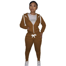 Autumn Winter Coffee Cotton Two Piece Sweatpants and Hoodie Set for Women
