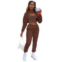 Brown Cotton Fleece Drawstring Jogging Tracksuit  Hollow Hoodie Blouse Pants Set and Vest