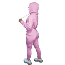 Autumn Winter Thick Drawstring Jogger Two Piece Pink Sweatpants and Hoodie Set