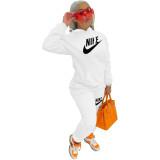 White Nike Clothing Pockets Offset Printing Drawstring Hooded Set Women