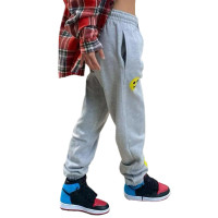 Casual Grey Smiley Print Long Sweatpants