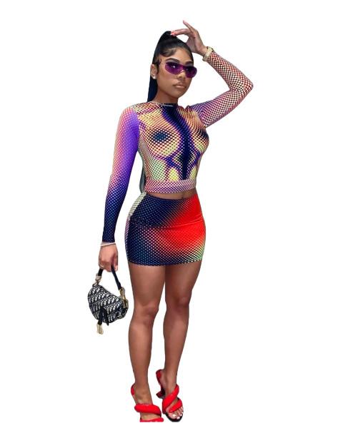 Fall 2021 Women Clothes Bodycon Dress Set Sexy Print Two Piece Mini Skirt Set